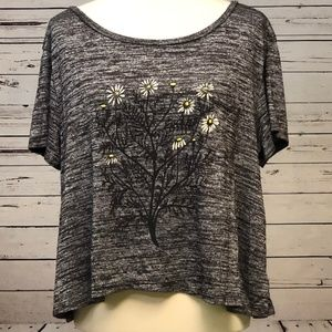 ☀️American Eagle Soft & Sexy L XL Gray Daisy Shirt